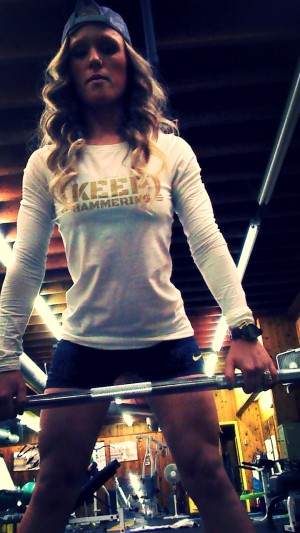 Cam Hanes Womens Keep Hammering Long Sleeve Gold Lettering