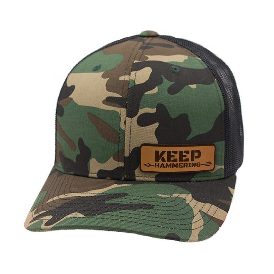 Camo Keep Hammering Leather Patch Hat
