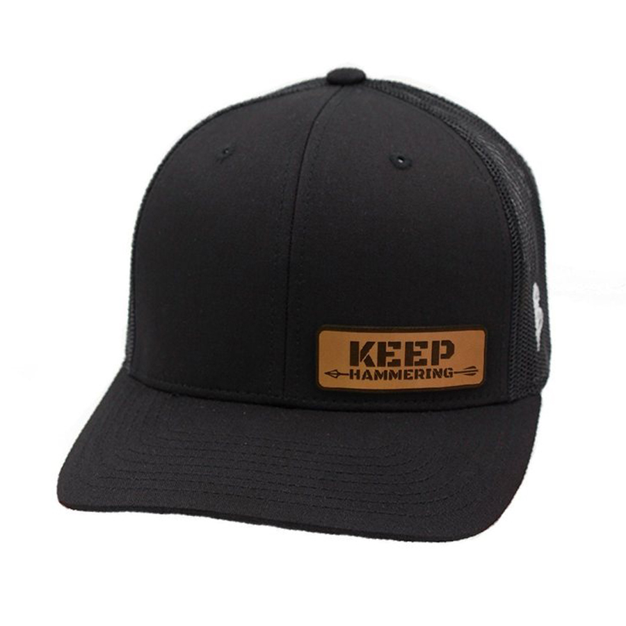 8a4ad8fd2 Black Keep Hammering Leather Patch Hat