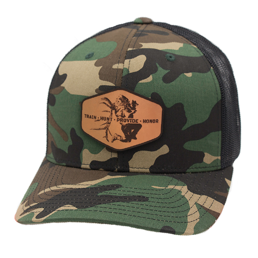 c3d48af12ec Camo Train Hunt Provide Leather Patch Hat - Cameron Hanes